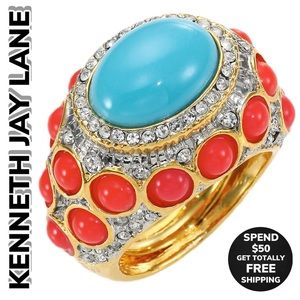 Kenneth Jay Lane Cabochon Turquoise/Coral Ring